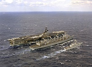 USS Detroit (AOE-4) refueling Independence (CV-62) and HMS Scylla (F71) 1979.JPEG