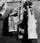 USS Intrepid (CVA-11) with Valley Forge (CVS-45) at Norfolk 1957.jpg