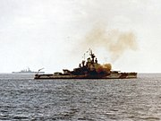 USS Nevada (BB-36) bombarding Iwo Jima