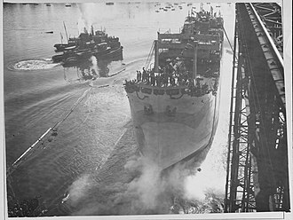 USS W. L. Steed (ID-3449) - The launching of SS W. L. Steed in 1918. Later that year she was commissioned as USS W. L. Steed.