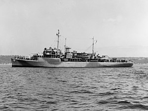 USS Yakutat (AVP-32) off Seattle, Washington (USA), on 30 March 1944 (19-N-63328).jpg