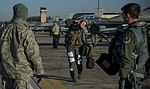 US Female F-16 Fighter Pilot Capt Brittany Trimble steps from her jet prior to VIGILANT ACE 18 at Osan Air Base, Republic of Korea-4004018.jpg