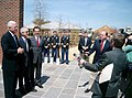US Navy 040326-N-3399W-001 Members of the media question Secretary of the Navy, Gordon England, Senator Saxby Chambliss and Congressman Phil Gingrey following a visit with Naval Reserve leaders and community officials at Naval.jpg