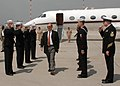 US Navy 060421-N-9197B-002 Secretary of the Navy (SECNAV) the Honorable Dr. Donald C. Winter passes through side boys upon his arrival in Naples.jpg