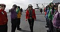 US Navy 070808-N-0194K-107 Under Secretary of State for Diplomacy and Public Affairs, walks through rainbow sideboys after landing the Military Sealift Command (MSC) hospital ship USNS Comfort (T-AH 20).jpg