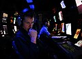 US Navy 081024-N-6538W-011 Operations Specialist Seaman Damian Bailey, from Crockett, Texas, stands radar watch in the Combat Direction Center aboard the Nimitz-class aircraft carrier USS John C. Stennis (CVN 74).jpg