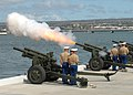 US Navy 090925-N-2915M-052 A U.S. Marine Corps saluting battery detail fires a 17-gun salute during the arrival of Adm. Timothy J. Keating.jpg