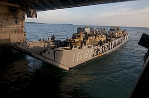 US Navy 111211-N-PB383-726 Crew members enter the well deck of the amphibious transport dock ship USS New Orleans.jpg