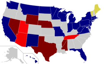Color coded map of 2018 Senate races