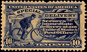 Bicycle messenger - 1902 US postal stamp depicting a bicycle messenger