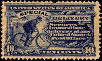 Bicycle messenger - 1902 US postal stamp depicting a bicycle messenger
