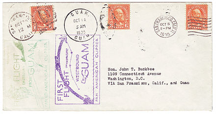 Cover carried both directions on the first commercial flights between Guam and the United States, October 5-24, 1935 US to Guam First Flight Cover 1935.jpg