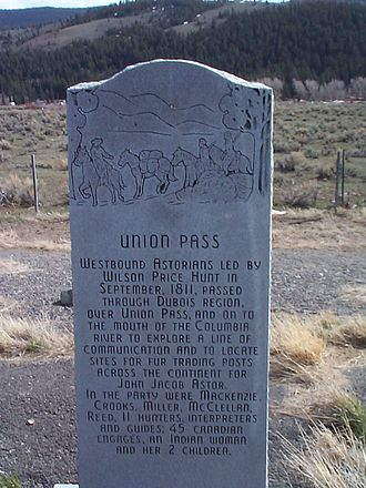 Union Pass - Image: Union Pass historic marker