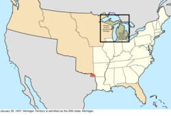 Map of the change to the United States in central North America on January 26, 1837
