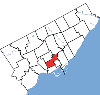 University—Rosedale - University-Rosedale in relation to the other Toronto ridings (2013 boundaries)