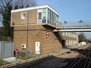 Upminster station - London Underground signal box at Upminster.