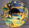 Urbino, f.x. avelli, piatto con venere che mostra la via a enea e acate, 1530 ca, stemma manetti.JPG