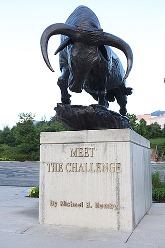 Utah State University - Meet the Challenge Statue. Utah State's mascot is Big Blue