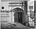 VIEW OF WEST SIDE ENTRY WITH GATE - Unitarian Church, 6 Archdale Street, Charleston, Charleston County, SC HABS SC,10-CHAR,197-6.tif