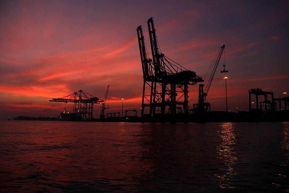 Vallarpadam Container Terminal at night