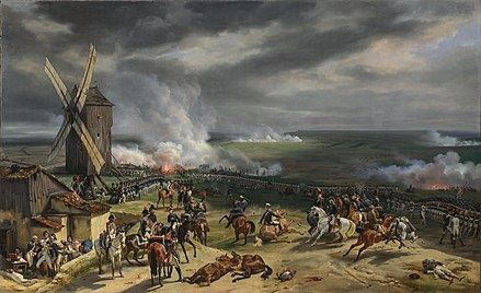 French victory over the Prussians at the Battle of Valmy on 20 September 1792 Valmy Battle painting.jpg