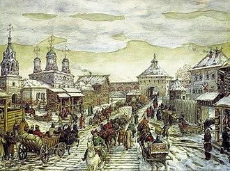Bely Gorod - Image: Vasnetsov u Myasnitskih vorot Belogo goroda 1926