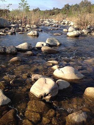 Ventura River - Ventura River flowing through cobble near Meiners Oaks.