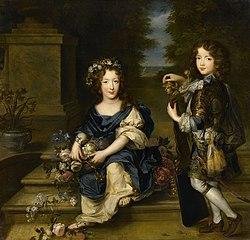 El conde de Vermandois en compañía de su hermana Mademoiselle de Blois