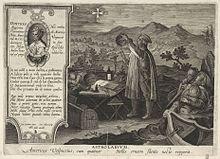 Gravure en noir et blanc représentant un homme debout devant une table sur laquelle se trouvent divers outils de mesure. L'homme observe une croix dans le ciel et tient un compas dans sa main droite et un astrolabe dans sa main gauche.