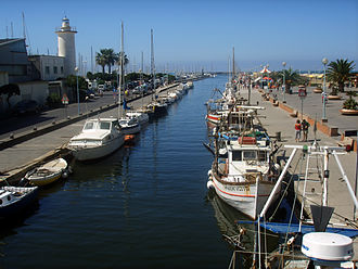 Viareggio - The Burlamacca canal and the old lighthouse.