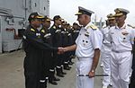 Vice Admiral Girish Luthra, Flag Officer Commanding-in-Chief Western Naval Command and other senior officers of the command, interacting with the crew prior to INS Viraat's departure.jpg