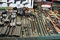 Victory Show Cosby UK 06-09-2015 WW2 re-enactment display Trade stalls Misc. militaria personal gear replicas reprod. originals collect. zaphad1 Flickr CCBY2.0 Ammo mags grease carabine AK47 UZI VIG Browning MG13 bayonets etc IMG 3831.jpg