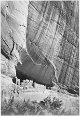 "View from river valley, ""Canyon de Chelly"" National Monument, Arizona. (Vertical Orientation), 1933 - 1942 - NARA - 519851.tif"