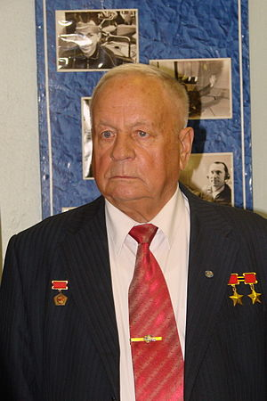 "Pilot-Cosmonaut of the USSR - Veteran of three space flights, ""Pilot-Cosmonaut of the USSR"" Viktor Gorbatko (2011 photo)"