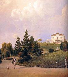 Raffigurazione della Villa Borromeo, olio su tela, datazione incerta ma compresa tra la fine del XVIII secolo e l'inizio del XIX