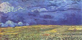 Una imagen de un campo vasto paisaje abierto, el cielo azul oscuro sobre la tierra amarillenta y verde.