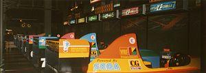 Virtua Racing - Virtua Formula 8-machine plus commentator setup at the defunct Sega Virtualand, inside the Luxor Casino, Las Vegas, USA, in 1993.