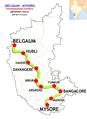 Vishwamanava Express (Hubli - Mysore) Route map.png