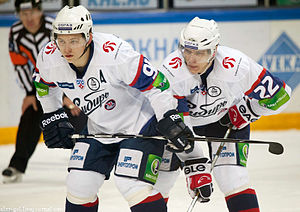 Vladimir Tarasenko - Tarasenko (on left) in 2011 while with HC Sibir.