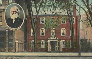 Wadsworth-Longfellow House - Postcard showing the house