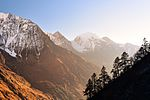 This image won the 2nd prize in the national contest of Nepal in Wiki Loves Earth 2017: Sunrise near Samagauon village - Manaslu trek area.