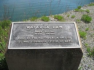 Watauga Lake - Watauga Dam historical marker.