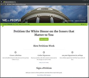 We the People (petitioning system) - Image: We the People screenshot
