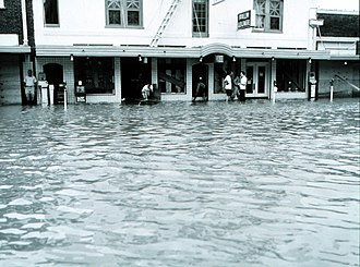 Hurricane Beulah - Damage and Flooding in Brownsville, Texas from Hurricane Beulah.