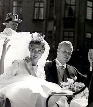 Prince Johann Georg of Hohenzollern - Princess Birgitta and the bridegroom, Johan Georg von Hohenzollern, during their wedding ceremony