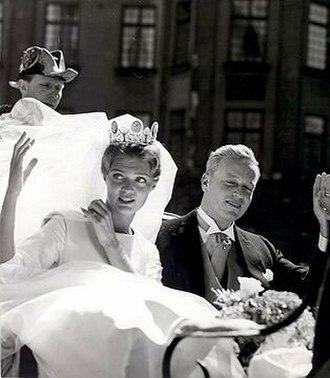 Prince Johann Georg of Hohenzollern - Princess Birgitta and the bridegroom, Johan Georg von Hohenzollern, during their wedding ceremony