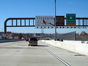I-95 south coming off the Woodrow Wilson Bridge from Maryland