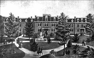 West Virginia Schools for the Deaf and Blind - A 19th-century engraving of the West Virginia Schools for the Deaf and Blind.
