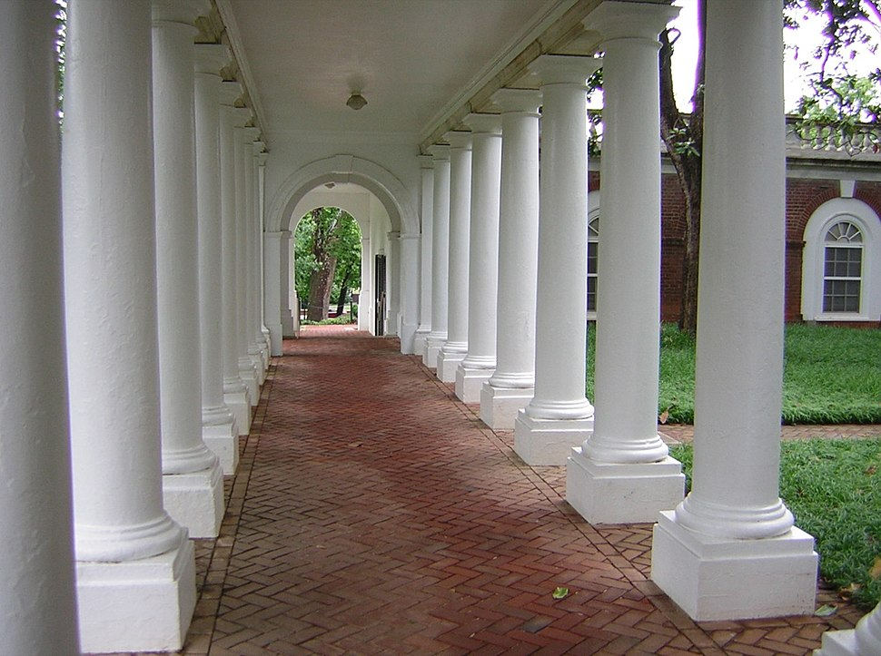 Western colonnade at courtyard, UVa 2004