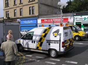 A mobile closed-circuit TV van monitoring a st...